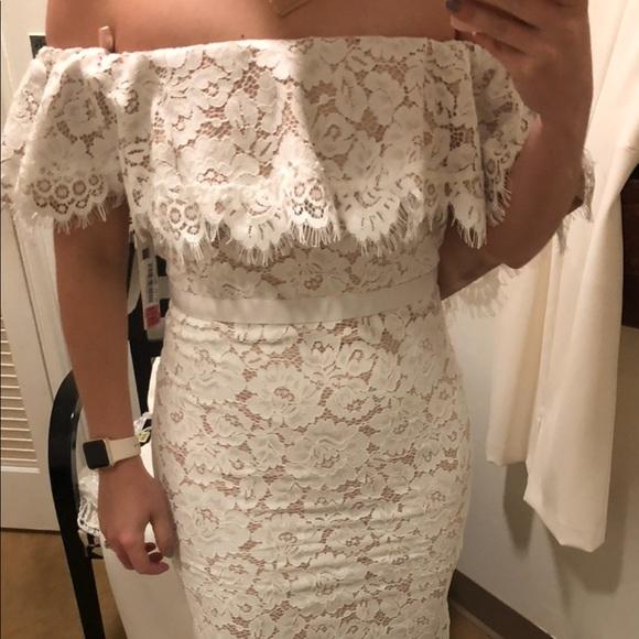 0645098a Eliza J Dresses & Skirts - NWT Eliza J white Lace off the shoulder dress